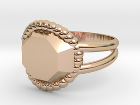 Size 10 Diamond Ring A in 14k Rose Gold Plated Brass