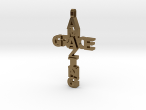 Amazing Grace Cross Pendant in Polished Bronze