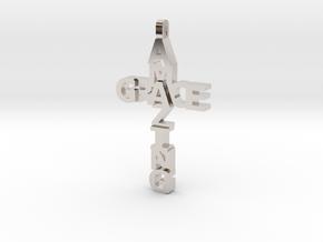 Amazing Grace Cross Pendant in Rhodium Plated Brass