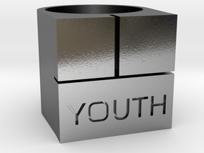 Youth Box Ring - Sz. 9 in Polished Silver