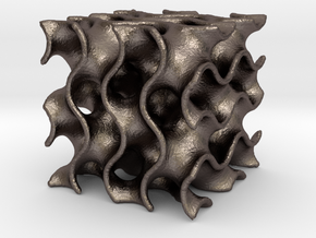 Gyroid - Small in Polished Bronzed Silver Steel