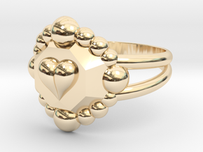 Size 6 Diamond Heart Ring E in 14k Gold Plated Brass