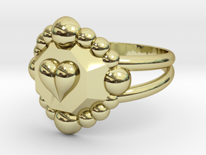 Size 7 Diamond Heart Ring E in 18k Gold Plated Brass
