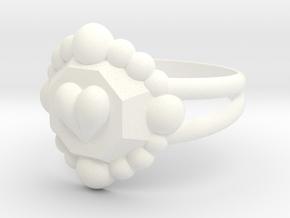 Size 7 Diamond Heart Ring E in White Processed Versatile Plastic