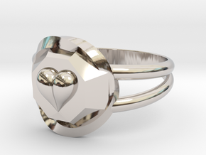Size 7 Diamond Heart Ring F in Rhodium Plated Brass