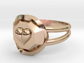 Size 8 Diamond Heart Ring F in 14k Rose Gold Plated Brass