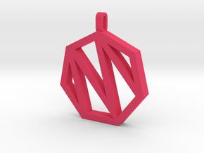 Heptagon Monogram Pendant (customizable) in Pink Processed Versatile Plastic
