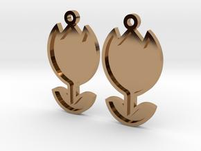 Tulip Earrings Thin in Polished Brass