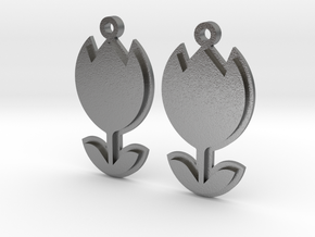 Tulip Earrings Thick in Natural Silver