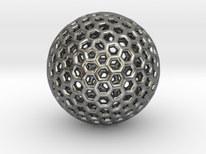 Goldberg pendant or earring, 1.5 cm diameter in Fine Detail Polished Silver