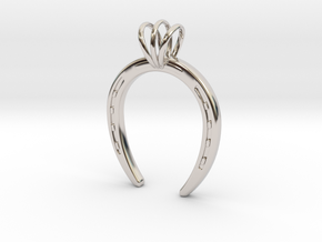 Horseshoe Necklace Pendant in Rhodium Plated Brass