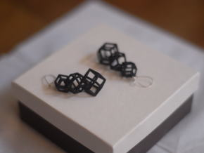 rhombic dodecahedron earrings in White Strong & Flexible