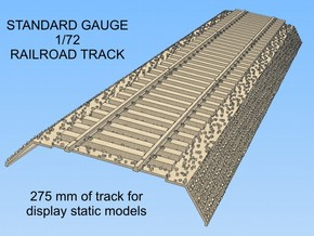 1-72 Rail Standard Gauge Section in White Natural Versatile Plastic
