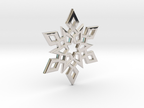 Snowflake Charm 2 in Rhodium Plated Brass