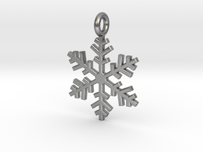 Snowflake Charm 1 in Natural Silver