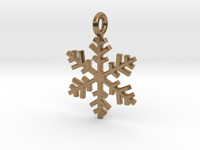 Snowflake Charm 1 in Natural Brass