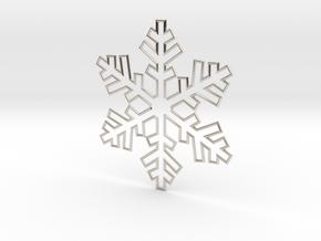Snowflake Pendant 3 in Rhodium Plated Brass