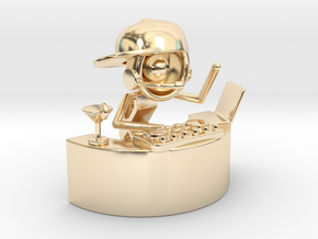 "Lala as DJ , ""Somebody dance with me"" - DeskToys in 14k Gold Plated Brass"