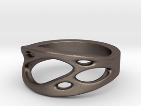 Frohr Design Ring Cell Cylcle in Polished Bronzed Silver Steel