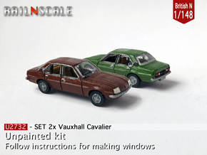 SET 2x Vauxhall Cavalier (British N 1:148) in Smooth Fine Detail Plastic