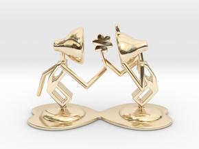"""Lala """"Giving Flower to Lele"""" - DeskToys in 14k Gold Plated Brass"""