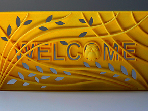 "3D Printed Welcome sign door decoration ""Owl tree"" in Yellow Processed Versatile Plastic"