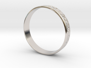 Ring Ornament love you in Rhodium Plated Brass