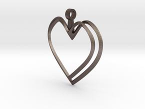 Open Heart Pendant in Polished Bronzed Silver Steel