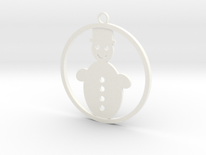 Christmas Ball with snowman in White Strong & Flexible Polished