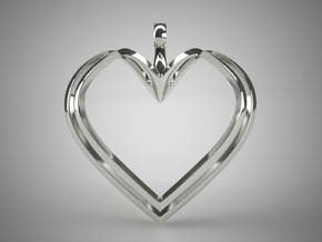 Open Heart Pendant in Fine Detail Polished Silver
