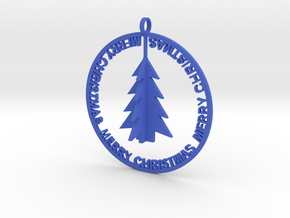 Christmas Ball with trees in Blue Strong & Flexible Polished