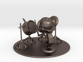"""Lala """"Trying Drums"""" - DeskToys in Polished Bronzed Silver Steel"""