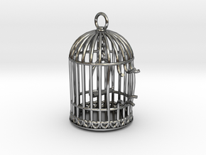 Freedom Birdcage Pendant in Fine Detail Polished Silver