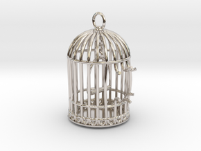 Freedom Birdcage Pendant in Platinum