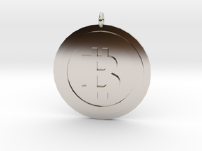 """Bitcoin """"We Use Coins"""" Style in Rhodium Plated Brass"""