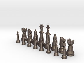 1/2 Set Modern Tournament Size Chess Piece (white) in Polished Bronzed Silver Steel