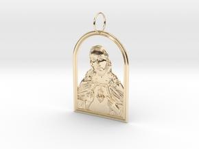 Jesus Heart Pendant in 14k Gold Plated Brass