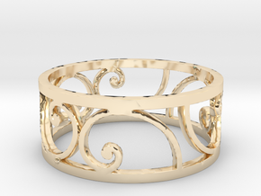 Golden Spiral Ring Size 7 (6 Flipped) in 14k Gold Plated Brass