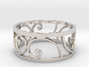 Golden Spiral Ring Size 7 (6 Flipped) in Rhodium Plated Brass