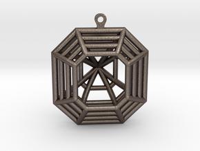 3D Printed Diamond Asscher Cut Earrings (Large) in Polished Bronzed Silver Steel