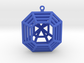 3D Printed Diamond Asscher Cut Earrings (Large) in Blue Processed Versatile Plastic