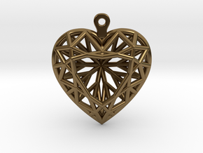 3D Printed Diamond Heart Cut Earrings  in Polished Bronze