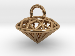 3D Printed Diamond is My Best Friend Pendant Small in Polished Brass