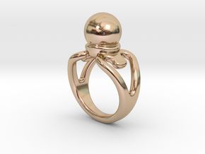 Black Pearl Ring 23 - Italian Size 23 in 14k Rose Gold Plated Brass