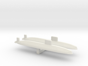 Trafalgar Class SSN x 2, 1/1800 in White Natural Versatile Plastic