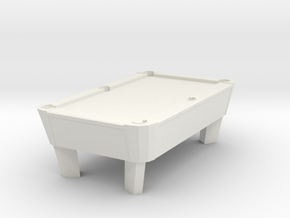 Pool Table - Qty (1) HO 87:1 Scale in White Natural Versatile Plastic