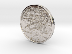 Two Faced Silver Dollar with scars on one side in Rhodium Plated Brass