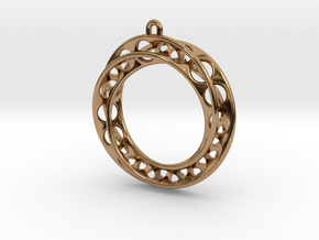 Mobius Band 30mm With Loop / Pendant Enhanced Vers in Polished Brass