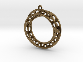Mobius Band 30mm With Loop / Pendant Enhanced Vers in Polished Bronze