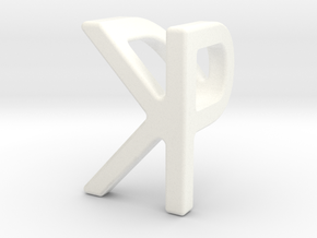 Two way letter pendant - KP PK in White Processed Versatile Plastic